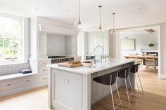 Georgian Farmhouse Kitchen, Hampshire - Humphrey Munson Kitchens - kitchen island - lighting - pendants - seating - lacanche - banquette - #kitchen #design #inspiration #storage #humphreymunson
