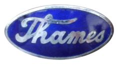 Ford E83W Thames 10cwt Van badge in chrome and blue. Marked J Fray Ltd, Bham. Earlier vans were badged as a Fordson. It has a single threaded fixing stud to the rear. Measures 55mm x 27mm