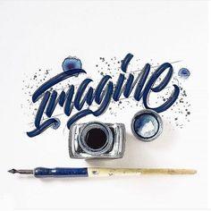 """Imagine"" Work by @luislili Follow us for daily logo design inspiration @logotorque on instagram N Logo Design, Lettering Design, Lettering Ideas, Tattoo Lettering Fonts, Brush Lettering, Script Logo, Calligraphy Letters, Typography Letters, Typography Inspiration"