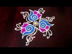 Simple Rangoli Designs Images, Rangoli Border Designs, Small Rangoli Design, Rangoli Designs With Dots, Rangoli With Dots, Lotus Rangoli, Diya Rangoli, Easy Rangoli, Rangoli Borders