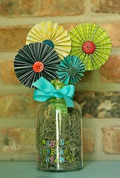 Cute paper flowers. fun for a party centerpiece or a teacher gift.
