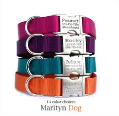 Personalized dog collar (or dog collar & leash set) in 14 different colors for both boy dogs and girl dogs. Laser engraved metal buckle works as pet