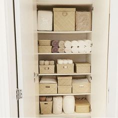 Lovely linen closet! #linens #closet #beige Reposted Via @doneanddonehome