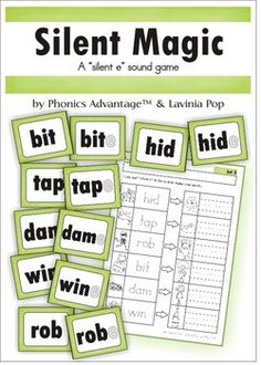 "Silent Magic - A ""silent e"" phonics sound game. Each set includes 6 pairs of cards for matching and a recording sheet, which can also be used independently. Great for word work."