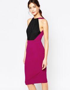 Super lækre Hedonia Francine Midi Dress with Halterneck in Colourblock Hedonia Kjoler til Damer i dejlige materialer