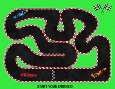 race track printable quiet book page Car Tracks For Kids, Car Play Mats, Quiet Book Templates, Activity Bags, Toddler Activities, Toddler Games, Toddler Daycare, Car Activities, Sewing Projects