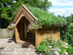 dog house Jakes Camomile House is an entrant for Shed of the year 2014 via readersheds Shed Builders, Shed Of The Year, Roofing Options, Roofing Materials, Cool Dog Houses, Living Roofs, Amazing Spaces, House Roof, Animal House