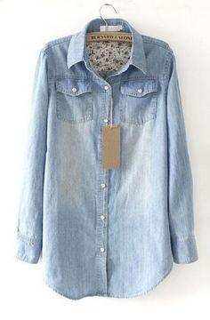 Light Blue Lapel Long Sleeve Pearls Denim Shirt - Sheinside