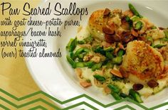 Pan Seared Scallops with goat cheese-potato puree, asparagus-bacon hash, sorrel vinaigrette, and toasted almonds