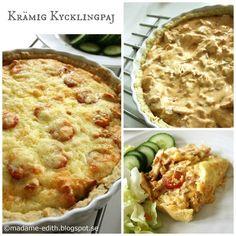 Här kommer ett riktigt bra recept på en krämig och god kycklingpaj :D Pajdeg: 3 dl vetemjöl 125 g smör 2 msk vatten Blanda ih...