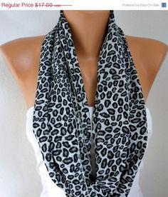 9782670ff2 Black   Gray Leopard Print Infinity Scarf