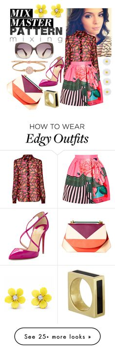 """""""Mix and Match: Patterns"""" by lexie63 on Polyvore featuring Tod's, Diane Von Furstenberg, Mary Katrantzou, Christian Louboutin, FOSSIL, DESA, Monsoon and patternmixing"""