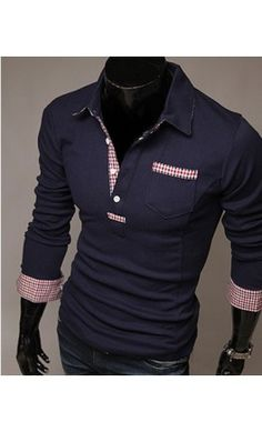 Contrast long sleeve polo restocked in M