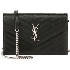 Saint Laurent Monogram Wallet-on-Chain (5.615 RON) ❤ liked on Polyvore featuring bags, wallets, black, logo bags, monogrammed wallet, monogrammed bags, chain wallet and yves saint laurent bags