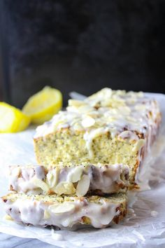 This gluten free almond, lemon, poppy seed loaf from A Saucy Kitchen is an easy mix and go recipe using a blend of grain free flours and fresh lemons. Not too sweet and not too tart. Dessert Bread, Paleo Dessert, Dessert Recipes, Lemon Desserts, Delicious Desserts, Yummy Food, Lemon Poppy Seed Loaf, Lemon Loaf, Gluten Free Lemon Cake