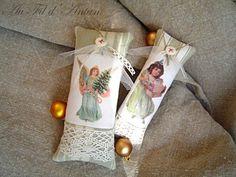 Lot de décorations de Noël : deux coussinets en toile à matelas, linge ancien, dentelles avec des images victoriennes.  Dans ce lot : un ange et une fillette, en transfert sur - 1754543