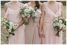 Blush bridesmaid dresses with pretty spring bouquets. Dresses from Bella Bridesmaids, bouquets by Fern Studio, image by Katherine Dalton.