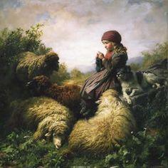"""Strickendes Hirtenmädchen"" (Little Knitting Shepherdess), Rudolf Koller, 1859   /"