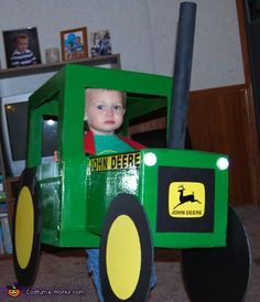 This is my son. He is obsessed with all tractors but more specifically John Deere. I asked what he wanted to be for Halloween & he said a tractor. Thinking I could buy a cute tractor I said no problem. Homemade Halloween Costumes, Halloween Costume Contest, Toddler Halloween Costumes, Boy Costumes, Halloween Kostüm, Holidays Halloween, Costume Ideas, Zombie Costumes, Halloween Couples