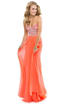 Flirt Prom 2014 dress style P2840  Chiffon Dress with Stacked Sparkle Bodice, Sweetheart Neckline, Low Back & Detachable Straps | FLIRT  Available Colors: Ivory/Gold, Hot Coral, Island Blue