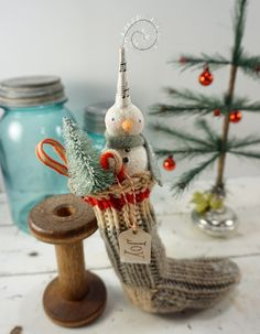 Snowman // Christmas Ornament // Stocking // by CatandFiddlefolk