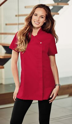 Need a Christmas hospitality uniform? Best selling press stud tunic now comes in red.  Perfect for doctors, nurses, private practioners, housekeepers, cleaners, beauty therapists and more. www.simonjersey.com supplies healthcare, beauty and hospitality uniforms.