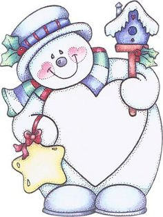 snowman with birdhouse, star and a big heart (you could write in)