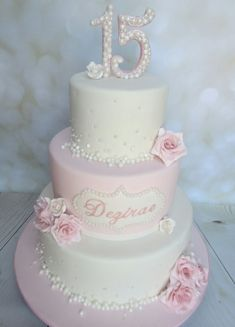Pearls for Dezi's birthday! Pearls for Dezi's birthday! Elegant Birthday Cakes, 15th Birthday Cakes, Sweet 16 Birthday Cake, Beautiful Birthday Cakes, Beautiful Cakes, Amazing Cakes, 16 Cake, Cupcake Cakes, Sweet 15 Cakes