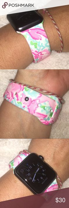 Lilly Pulitzer Apple Watch band lobstah roll new Lilly Pulitzer Apple Watch band. Silicone. Size 38mm and 42mm. This is for pattern lobstah roll.  Tags luxletic dress shirts popover pop up Lilly Pulitzer Accessories Watches