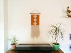 Woven Wall Hanging with hand whittled spalted beech dowel - Hand made in the UK