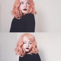 Peach Tea - Lush Wigs - Wavy Bob Fringe Peach Orange Pastel Lush Wig