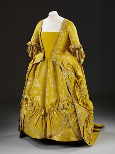 Sack-back gown and petticoat                                        Place of origin:England (made)Date:1760-1765 (made)Artist/Maker:Unknown (production)Materials and Techniques:Silk and linen, hand woven and hand sewn