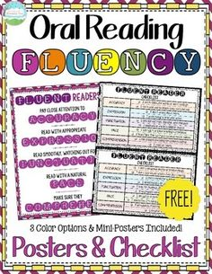 *FREE* Oral Reading Fluency Posters and Fluent Reader Checklist. I created these posters and the fluent reader checklist to accompany my popular FLUENCY blog post and anchor chart!  Use these resources to guide your students in developing excellent oral reading fluency!   I have included three color options for the poster as well as mini-poster options to use as individual student reference sheets.