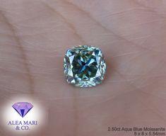 Diamond Alternatives, Cushion Cut, Moissanite, Aqua Blue, Cushions, Engagement Rings, Gemstones, Pendant, Photos