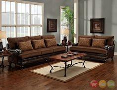 Antique Brown Durablend Sofa LoveSeat Traditional Living Room Set Nailheads