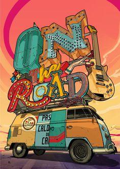 made by: Davi Augusto , 'On the Road' - Digital art Illustration Art, Illustrations, Arte Pop, Grafik Design, Street Art, Digital Art, Artsy, Typography, Sketches