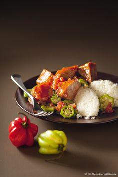 Recette de langue de boeuf, sauce gombos au riz.