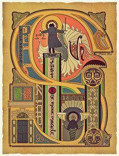 Reichenbach Fall - Illuminated style 18x24 poster for BBC Sherlock Holmes. $25,00, via Etsy.