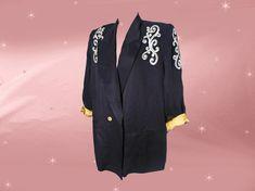 Plus Size Vintage Dressy Black Blazer, Iconic Retro XL Jacket with Metallic Gold, Unisex Flashy Power Shoulders for Rocker Guys Too! Rocker Look, Plus Size Vintage, Satin, 40s Fashion, Metallic Gold, Blazer, Unisex, Guys, Deco