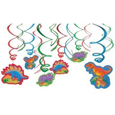 Check out Dinosaur Party Hanging Decorations - Cheap Party Decorations…