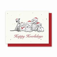 Grow-A-Note® Happy Howlidays - Green Field Paper Company plantable seed embedded holiday card