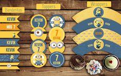 #Banderitas para#adorno. #Toppers (circulos) para usar con palitos brochette. Etiquetas #wrappers para #cupcakes  #minions  #amarillo #azul #varon #kitcumple