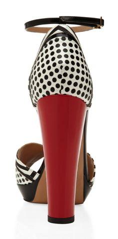 Aquazzura - black & white & red all over the heel.