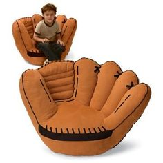 baseball glove chair.. Oh yes Santa will be bringing this to go along with his new baseball room :)