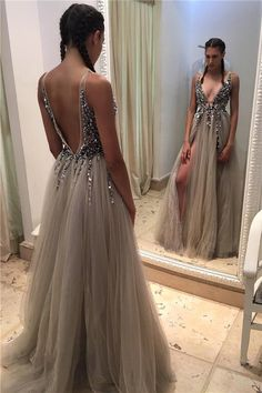 Newest Beading A-Line Prom Dresses,Deep V-neck Tulle Front Slit Evening Gowns Crystals Open-Back Sexy Beadings Prom Dresses