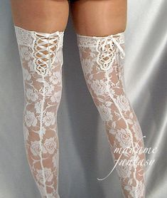 Sexy White Lace Stockings With Lace Top & Lace Up Back - Madame Fantasy Stockings Lingerie, Stockings Outfit, Garters And Stockings, Lingerie Outfits, Nylon Stockings, Pretty Lingerie, Sexy Lingerie, Women Lingerie, Bas Sexy