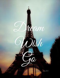 "Paris, France, Eiffel Tower, Europe, Travel, Photography - ""Dream, Wish, Go"" by DreameryPhoto (http://ift.tt/1u7jFxJ) PURCHASE HERE: http://ift.tt/1wvtDb8"