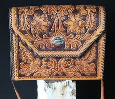 Vintage Purse Flower Leaf Tooled Purse Southwestern Floral Bag Leather Tooled Handbag/ Tote Hippie Purse