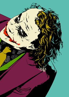 The Joker - Heath Ledger by Vee Ladwa Joker Comic, Le Joker Batman, Harley Quinn Et Le Joker, Gotham Batman, Batman Robin, Batman Pop Art, Heath Joker, Joker Cosplay, Joker Costume