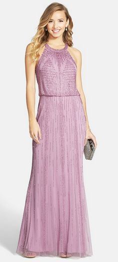 Intricate beadwork radiates from the halter neckline and traces striking geometric motifs across the sheer mesh overlay of an ethereal blouson gown. Camo Bridesmaid Dresses, Embellished Bridesmaid Dress, Embellished Gown, Beaded Gown, Bridesmaids, Bride Dresses, Women's Dresses, Best Formal Dresses, Street Style